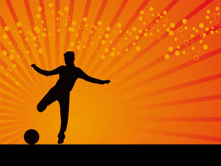 striker: Black striker footballer vector background illustration
