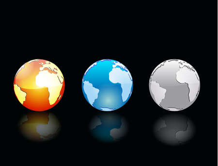 fantastic world: Black vector background with three globe, illustration   Stock Photo