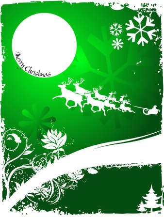 Christmas on green background with flying Santa claus,abstract vector illustration  illustration