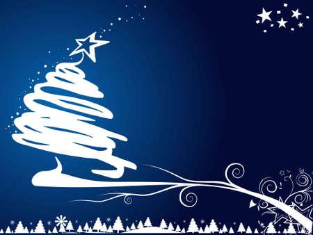 Christmas tree on blue background, vector illustration illustration