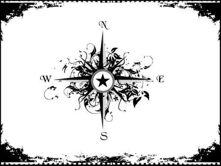 Illustration. Frame with Compass panel illustration