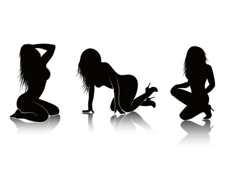Silhouettes of sexy females abstract vector background illustration Stock Illustration - 2202035