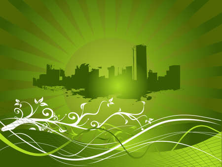 conurbation: Floral grunge and urban city theme in green, vector wallpaper