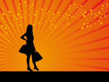 Girl with Black bags vector background illustraion photo