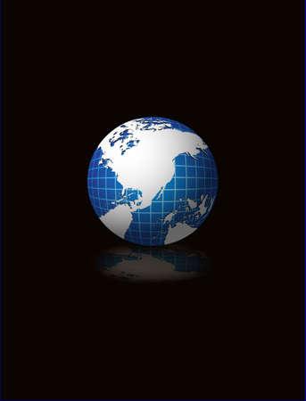 Globe vecter illustration on black abstract background Stock Illustration - 2202068