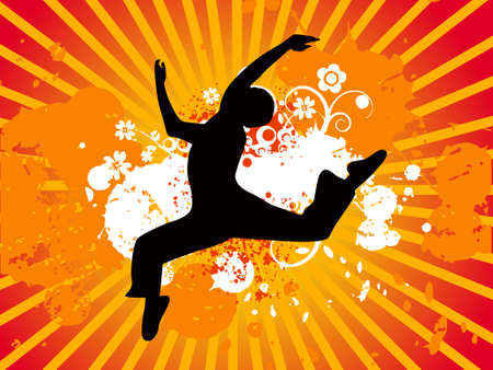 body silhouette: Jumping dance silhouette, vectorial illustration Stock Photo