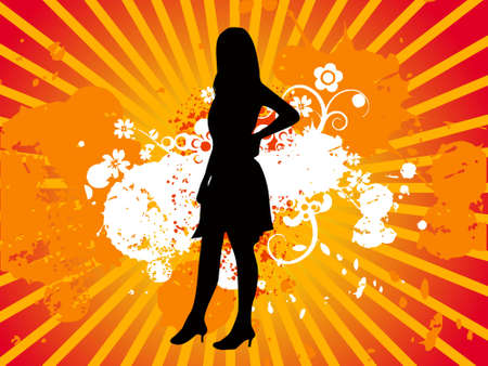 Model girl black silhouette, vectorial illustration Stock Illustration - 2202102