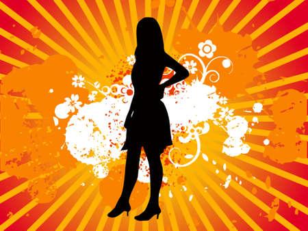 Model girl black silhouette, vectorial illustration Stock Illustration - 2202102