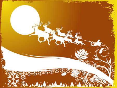 Night scene background with Santa Claus, abstract vector illustration  Stock Illustration - 2202109