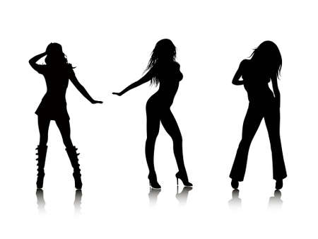 adulation: Silhouettes of sexy females abstract vector background illustration Stock Photo