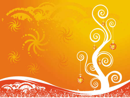 Christmas decoration on orange background. abstract vector illustration. illustration