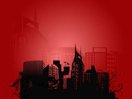 conurbation: vector illustration of urban  city on red background