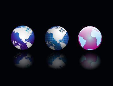 Three globe on black abstract background, vector illustration  illustration