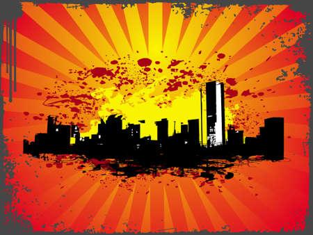 conurbation: grunge urban city theme in orange color, illustration  Stock Photo