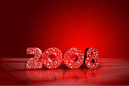 new years resolution: red vector illustration of year 2008 theme