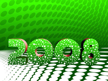 Vector illustration of year 2008 on tile waves background  illustration