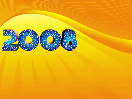 new years resolution: Vector of year 2008 on yellow background, wallpaper