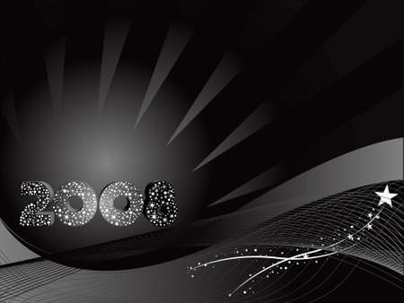 new years resolution: Vector wallpaper of 2008 background in black