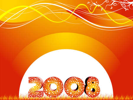 wallpaper of year 2008 on rainbow background photo