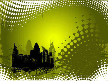 Grunge city background in olive green, illustration illustration