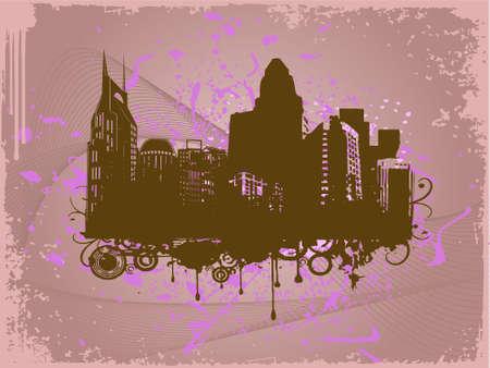 grunge city background in rosy brown, illustration illustration