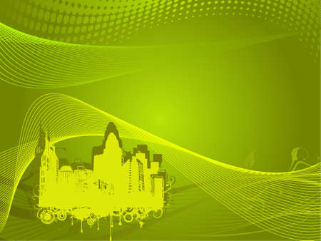 grunge city background in yellow and green, illustration  illustration