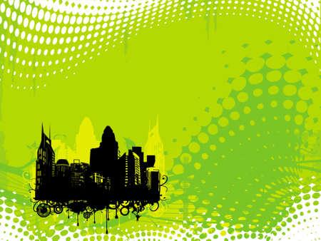 grunge city background in yellow green, illustration  illustration