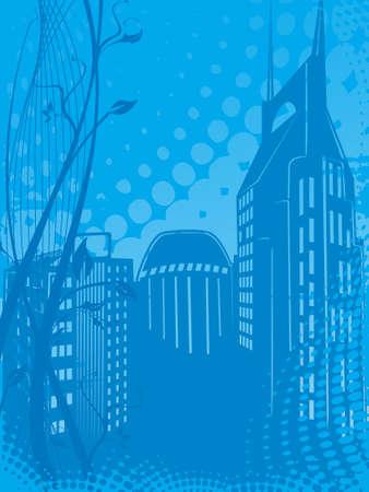 grunge city background in blue, illustration  illustration