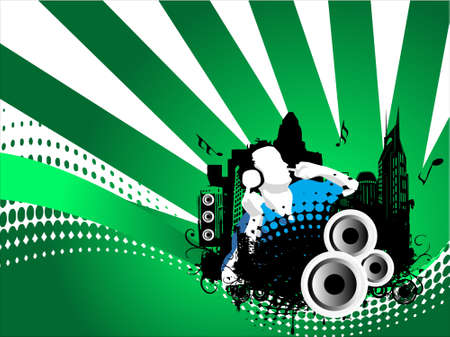 discjockey: Grunge vector illustration of disc jockey on city background in green