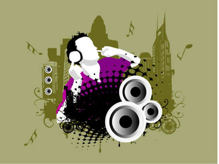 Grunge vector illustration of disc jockey on city background in grey illustration