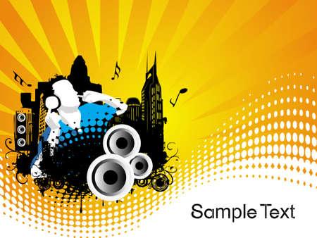 Grunge vector illustration of disc jockey on city background in orange Stock Illustration - 2229449
