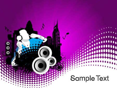 Grunge vector illustration of disc jockey on city background in purple  illustration