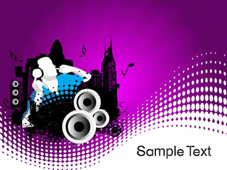 discjockey: Grunge vector illustration of disc jockey on city background in purple