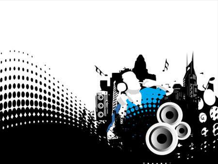 Grunge vector illustration of disc jockey on city background in white illustration