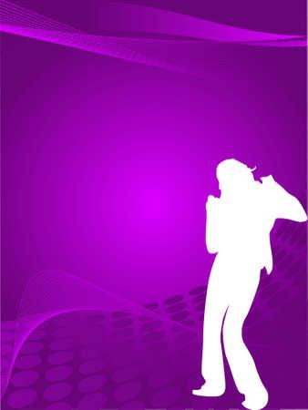 discjockey: Silhouette female dancer posing on blue waves, wallpaper Stock Photo