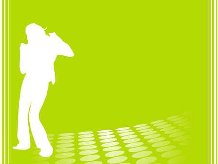 discjockey: Silhouette female dancer posing on green background, wallpaper