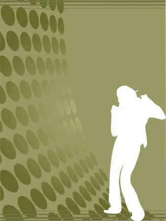 discjockey: Silhouette female dancer posing on olive green waves, wallpaper