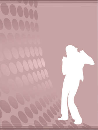 Silhouette female dancer posing on rosy brown waves, wallpaper photo