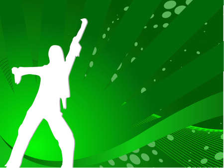 discjockey: Vector sexy silhouette female dancing composition in green, illustration  Stock Photo