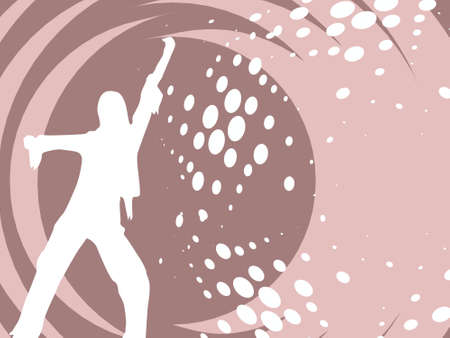 discjockey: Vector sexy silhouette female dancing composition in lightpink, illustration