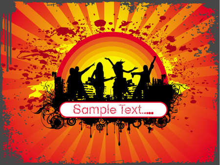 grunge wallpaper of silhouette dancing people in sample text theme photo