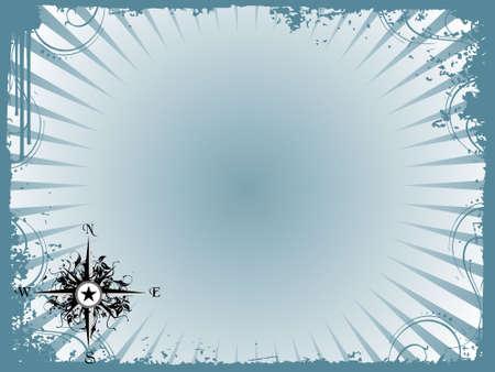 Compass panel in grunge frame, illustration illustration