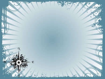 star trail: Compass panel in grunge frame, illustration