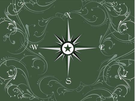 Compass panel on dark green floral frame, illustration illustration