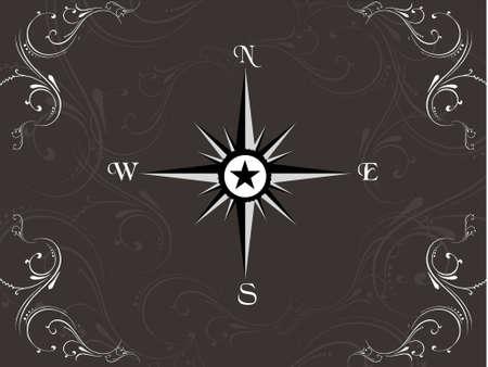 Compass panel on floral background, illustration illustration