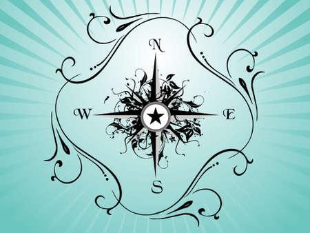 Compass panel on green floral background, illustration illustration
