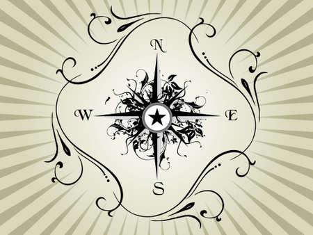 star trail: Compass panel on grey floral frame, illustration