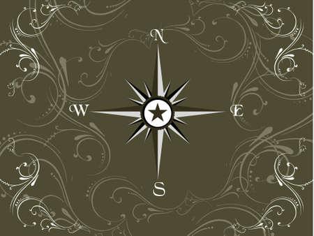 Compass panel on olive green floral frame, illustration illustration