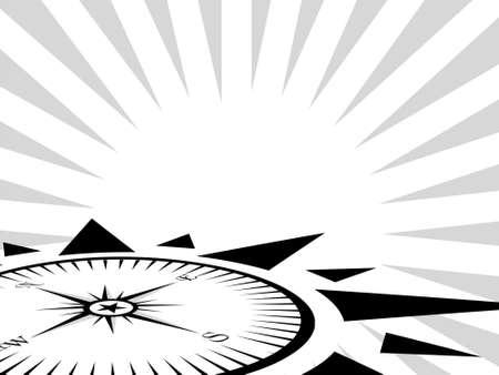 Compass symbol on white and grey background, illustration illustration