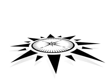 expeditions: Compass symbol on white background, illustration